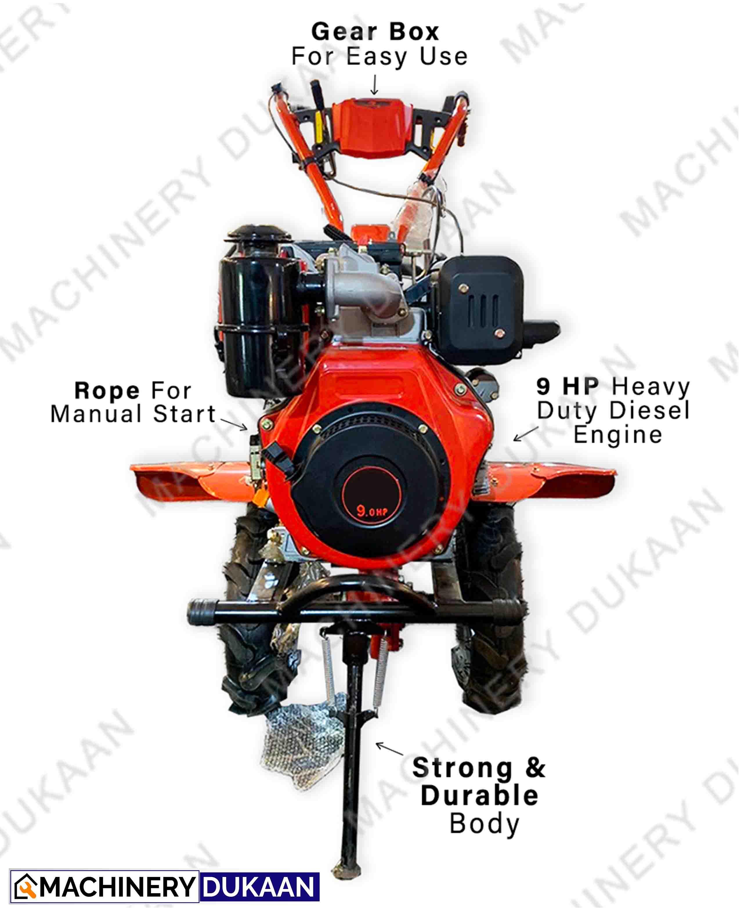 Power weeder 9HP GEAR DRIVEN Power Tiller Recoil Start